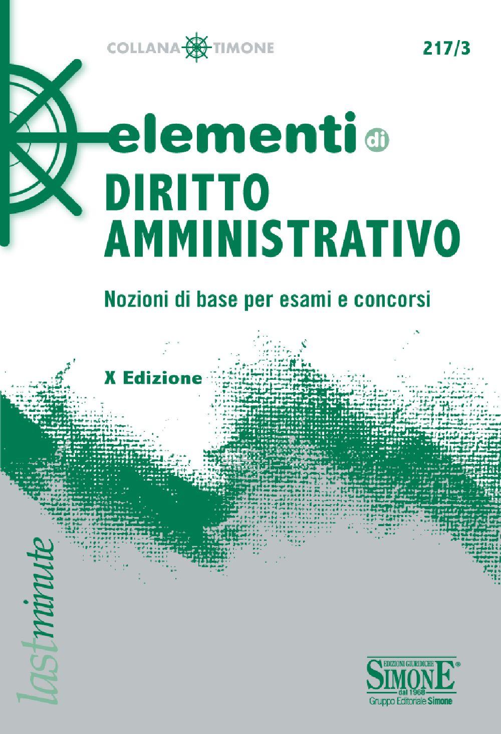 Gli Elementi di diritto amministrativo, giunti alla X edizione, affrontano in modo esaustivo, ma al tempo stesso sintetico, le principali tematiche afferenti al diritto amministrativo