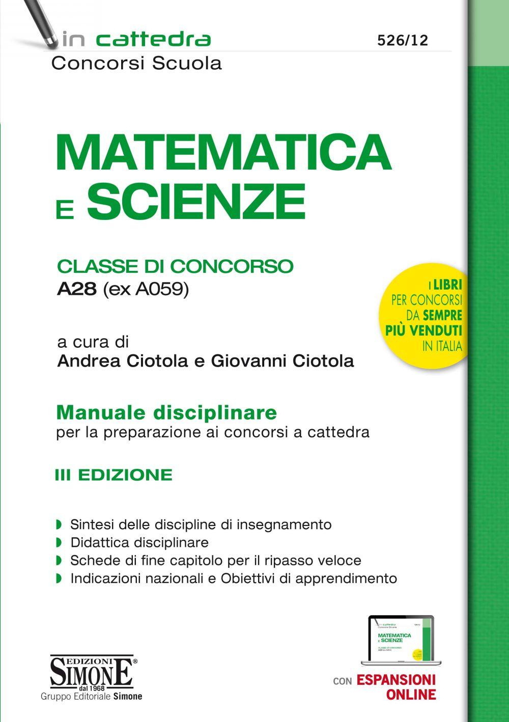 A28 Matematica e Scienze del concorso a cattedra