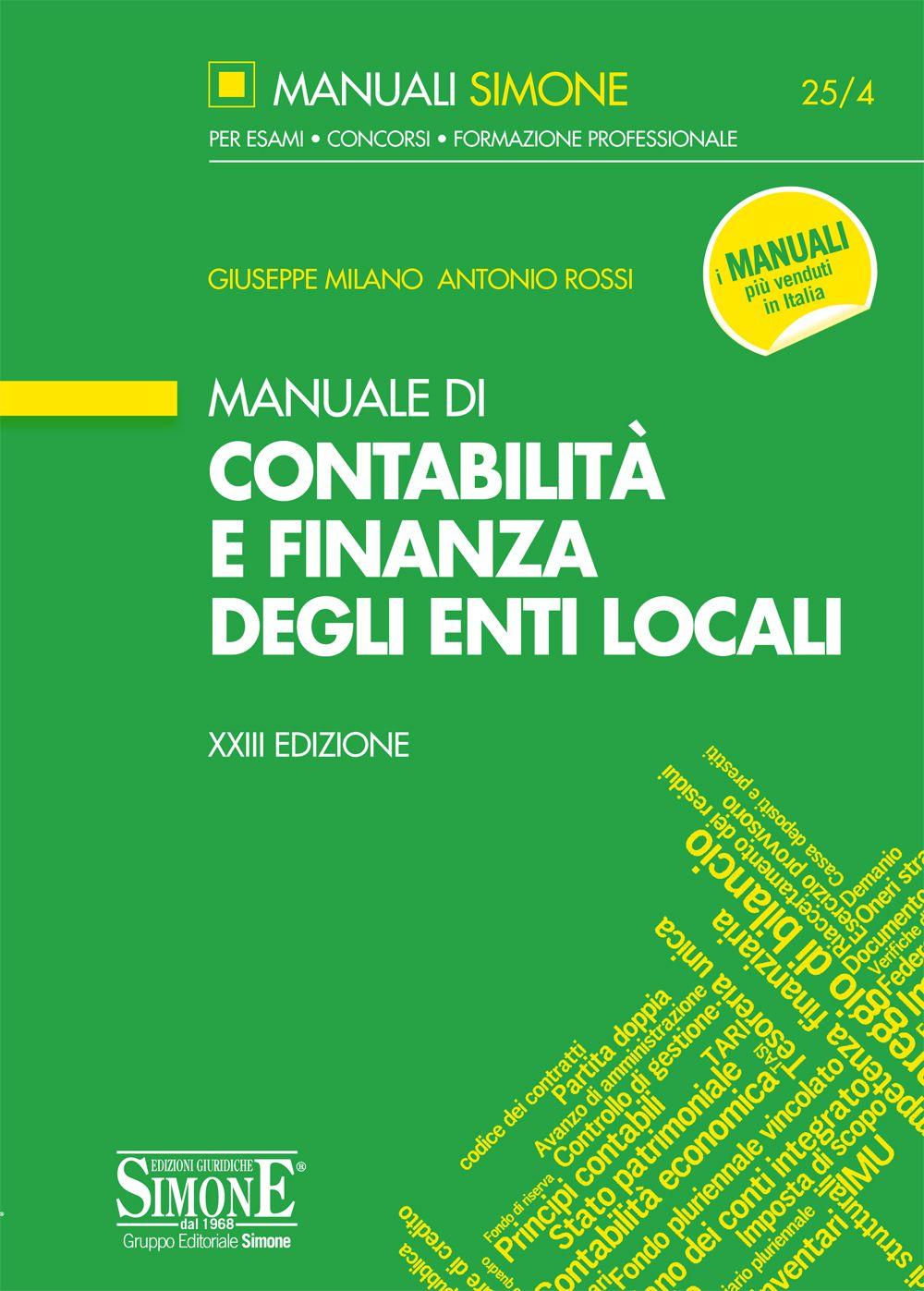 Manuale Di Contabilità E Finanza Degli Enti Locali Edizioni Simone