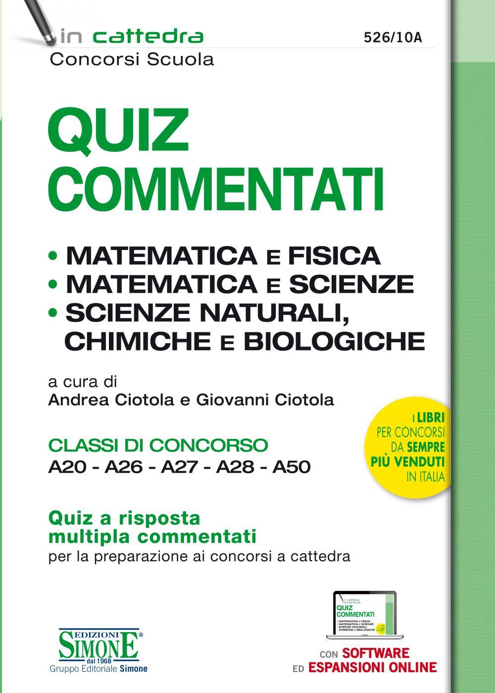 Libro Matematica e fisica - quiz commentati