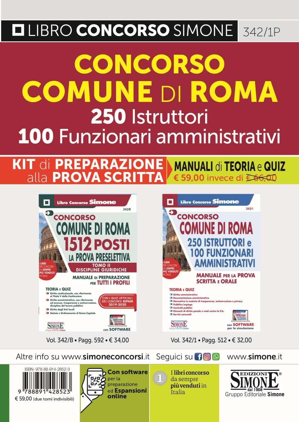 Comune di Roma 250 Istruttori 100 Funzionari Amministrativi