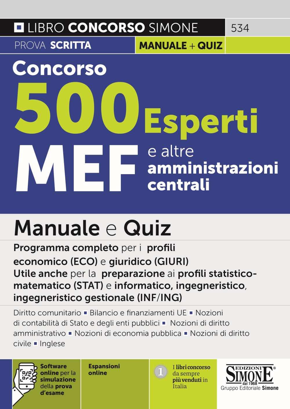 Manuale Concorso MEF 500 esperti