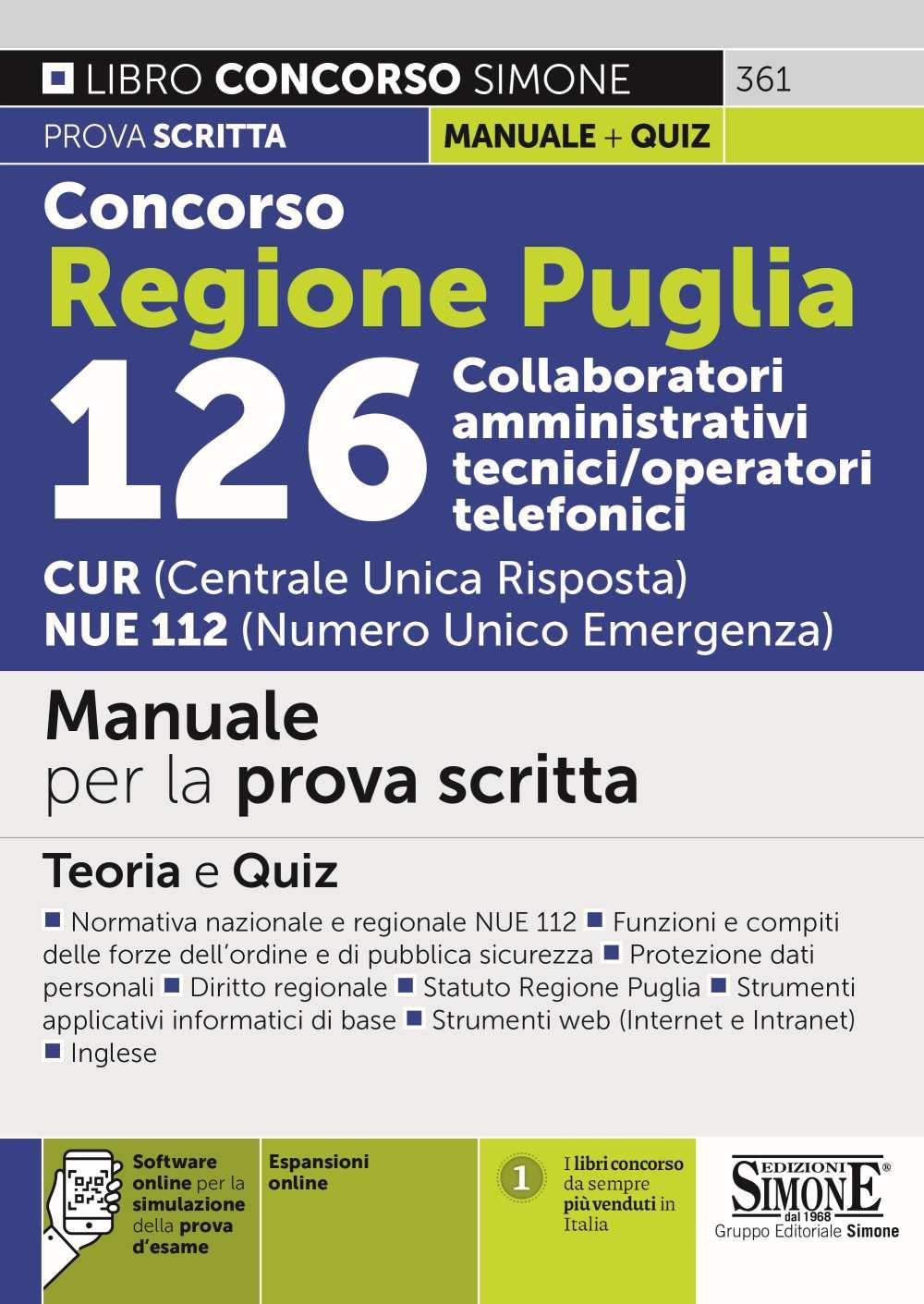 Concorso Regione Puglia 126 operatori del 112